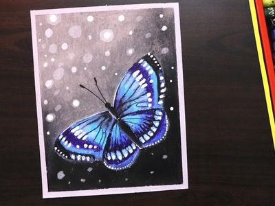 Oil pastel Drawing | How to draw Easy Butterfly Scenery drawing and painting