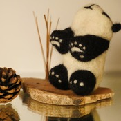 Panda Felted Decor Black White Paws Felt Animals