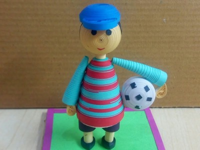 Paper Quilling Sculpture Football Playing Boy