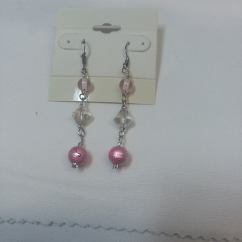 Pink drop earrings 115222