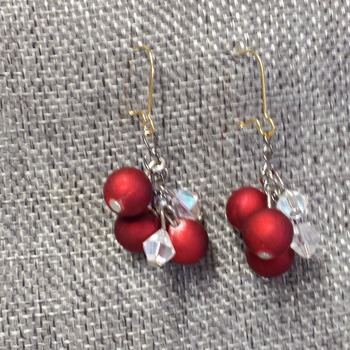 Red balls and crystal bicone Earrings 154058
