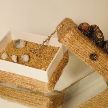 Sea Shell Sand Zen Garden Rope Box Desk Top Decor