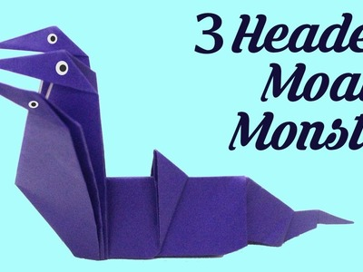 3 Headed Moat Monster by John Montroll,  Easy Origami, Basic origami, Simple Origami for Beginners