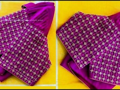 #36 తెలుగు లో మామూలు సూది తో మగ్గం వర్క్ Heavy Designer Sleeves with normal stitching needle Aari