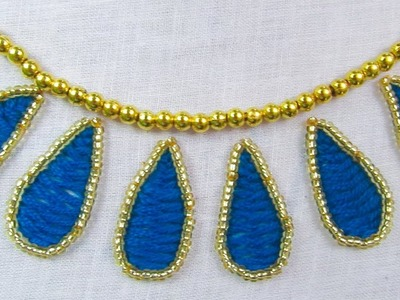 Aari and Hand Embroidery, Beautiful Neckline Design with Beads