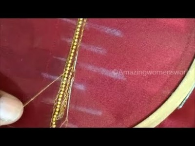 Aari Chain Stitches with Normal Stitching Needle- Very Simple and Easy for Necks on Blouses