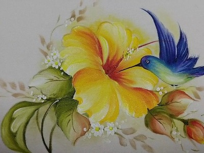 Aprenda Pintar Beija-Flor e Hibisco. VIDEO COMPLETO