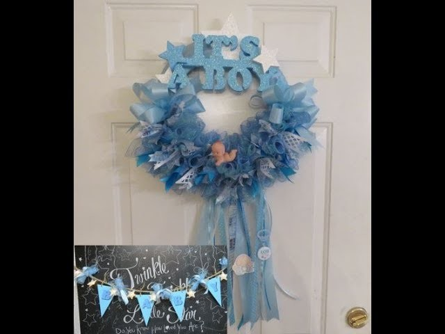 Baby Shower Series Project 7 and 8: Baby Lighted Star Garland and It's A Boy Wreath