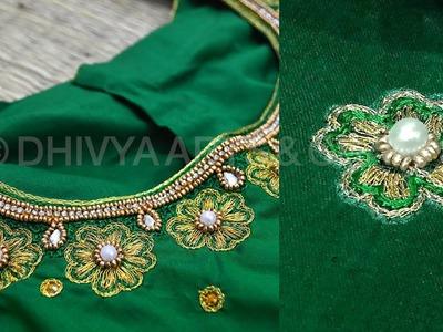Beautiful aari motif design | aari work for beginners | aari work blouse designs | #223