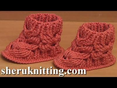 Crochet Cable Baby Boots Tutorial 58 Part 2 of 4 Pas à pas bottines bébé