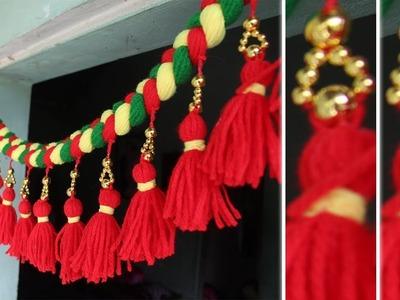Diy easy door hanging toran from woolen wirh bead | How to make ?