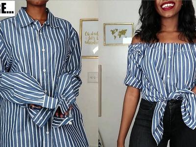 DIY Off The Shoulder Top | Men's Shirt Refashion