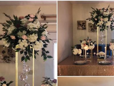 DIY- Wooden Dowels centerpiece DIY- tall centerpiece DIY- wedding decor