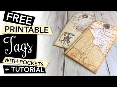 FREE printable Tags with Pockets - gift tags or for junk journal | FREEBIE