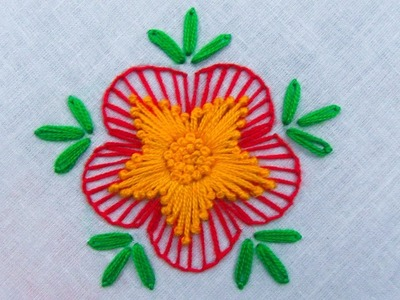 Hand embroidery, Latest flower embroidery design tutorial,flower embroidery