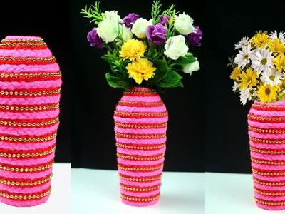 Handmade Stylish Flower Vase.Flower Pot with Plastic Bottle and Wool   Room Decor DIY