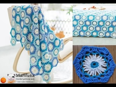 How to crochet daisy blue  afghan blanket free easy pattern tutorial