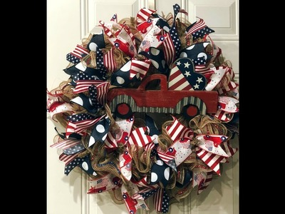 How to make a 30in ruffle wreath Patriotic Truck wreath
