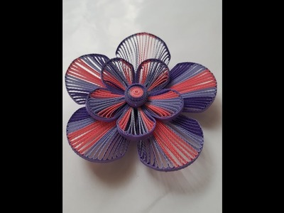 How to make a 3D quilling flower using a husking board. grid guide