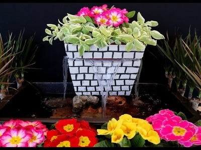 How to make a Beautiful Waterfall Fountain from plastic pot. DIY