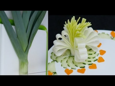 Leek Flower Carving  | Vegetable Flower  | Food Decoration 4K
