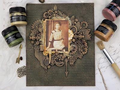 Mixed media canvas with finnabair pastes