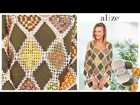 Motifli Bluz -  Crochet Motif Blouse with Alize Diva
