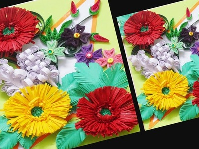 Paper Art || How to Make Beautiful Paper Quilling Flowers Greeting Card || Paper Flower Vase ||