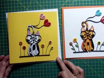Quilling Karte Katze - quilling card cat