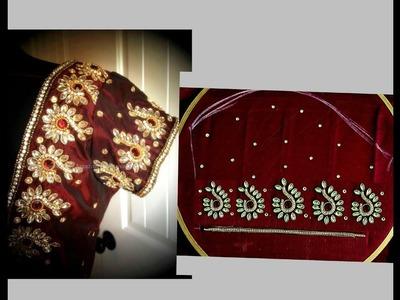 మామూలు సూది తో మెరూన్ బూటీ సారి, బ్లౌజ్, లెహంగా కోసం || maroon butis easy making in Telugu
