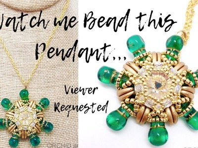 Watch me Bead | Czech Glass Green and Gold Pendant | By Viewer Request | Non-Tutorial. Tutorial