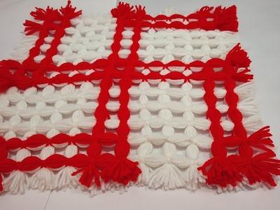 #wool,#yarn, #tablematस्वास्तिक वाला टेबल मैट  How to make Swastik