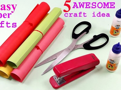 5 Awesome Craft Ideas With Colour paper || Ideas with Paper || Paper art and crafts