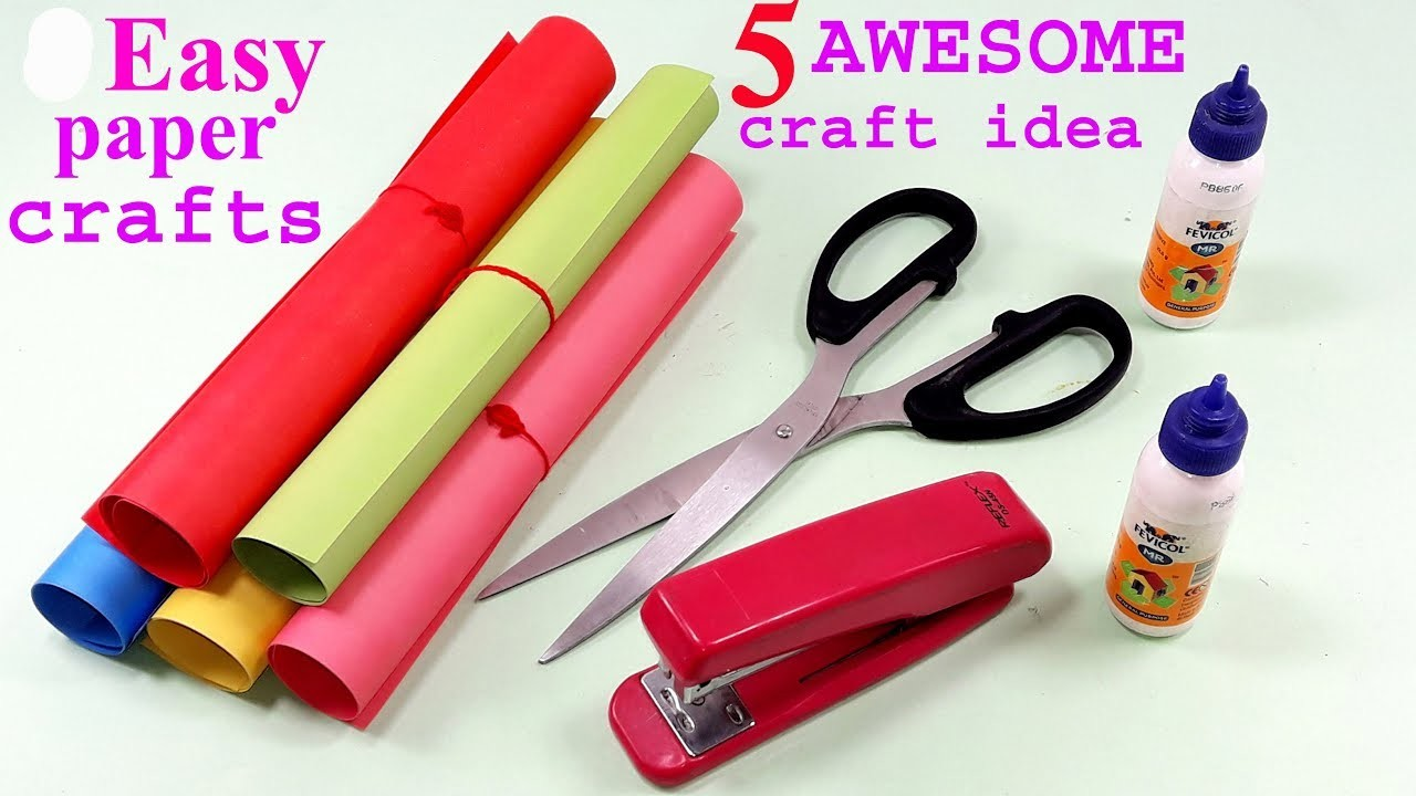 5 Awesome Craft Ideas With Colour paper    Ideas with Paper    Paper art and crafts