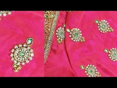 Aari sleeve design using with normal needle.beautiful pink blouse
