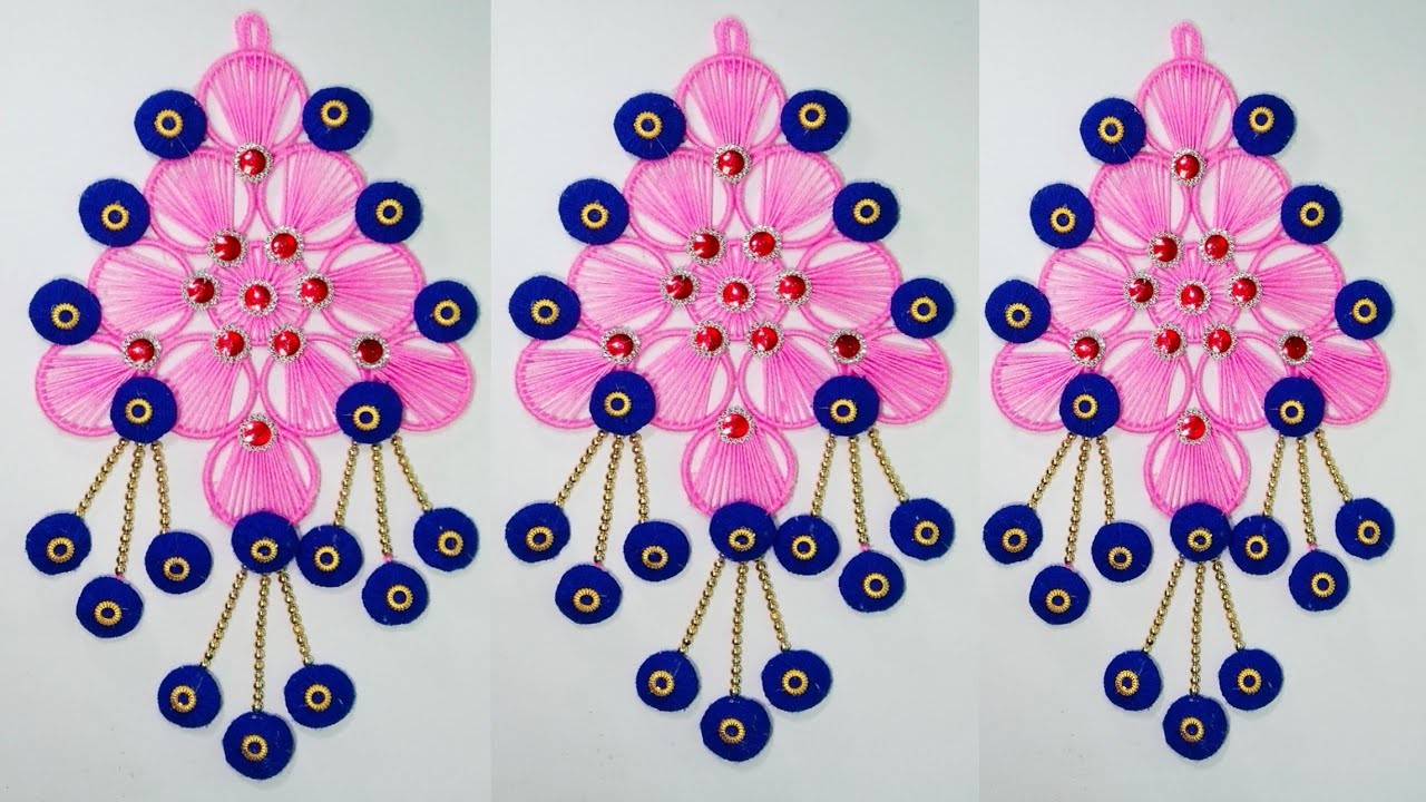 BEST OUT OF WASTE BANGELS AND WOOL CRAFT IDEA.DIY THREAD WALL HANGING DECORATION.oon ki WALL DECOR