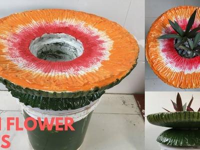 CEMENT CRAFT IDEAS ❤️.SUN FLOWER POTS. ❤️ How to make flower pot for garden