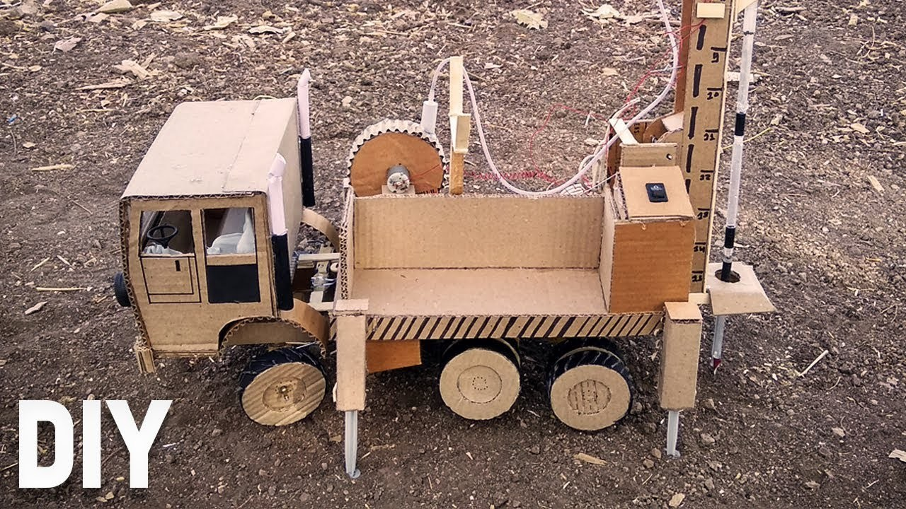 Coolest Hydraulic Borewell Drilling Truck   (Do It Yourself Cardboard Craft - Very Easy)