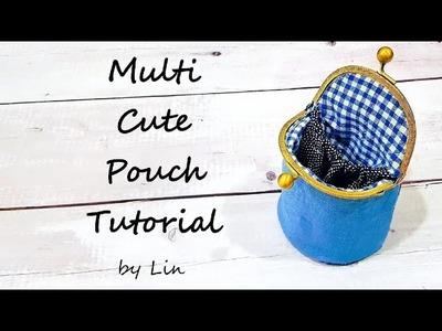 Diy bag ‖ MULTI CUTE POUCH ‖多用途口金包~可收纳耳环、发饰小东西 #HandyMum