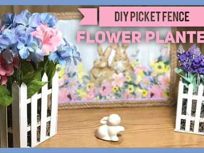 DIY Dollar Tree Wood Picket Fence Flower Planter - Dollar Tree Shabby Chic Farmhouse Room Decor