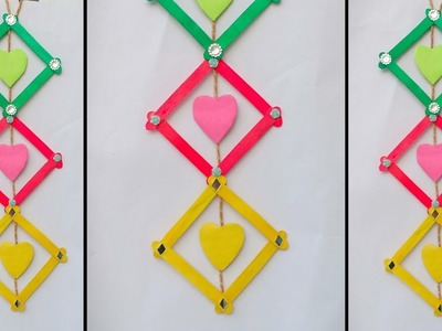 DIY : Ice-cream Stick Craft   How to Make Wall Hanging With Popsicle stick   Wall decor ideas