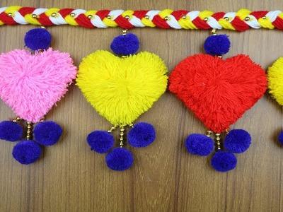 DIY Woolen Craft idea - How to Make Woolen Door Hanging    Woolen Design - Best out of waste