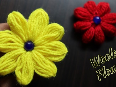 Easy Flower Making Out Of Wool | Woolen flowers step by step | woolen flowers | Diy woolen craft