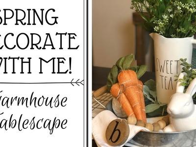 ????FARMHOUSE TABLESCAPE | SPRING DECORATE WITH ME | SPRING VIGNETTE ????