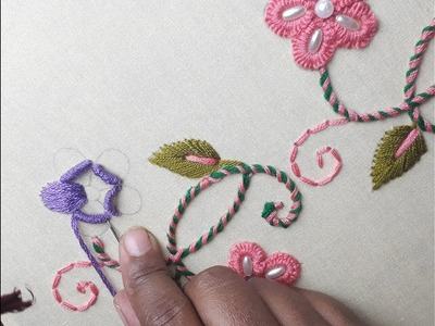 Creative applique hand embroidery on kurti. kameez creative kurti