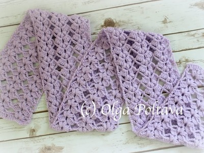 How to Crochet Easy Lace Scarf with Puff Stitches, Crochet Video Tutorial and Free Pattern