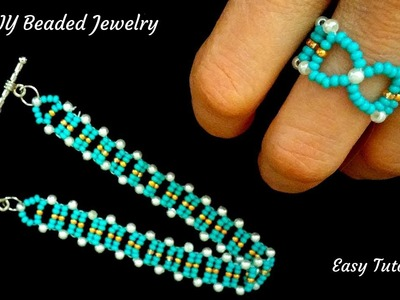 How to make a ring. How to make a bracelet.  beading pattern for DIY jewelry