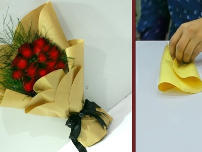 How to wrap rose hand tied bouquet || wrapping bouquet