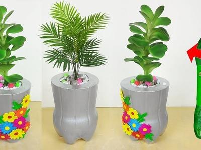 Plastic bottle Flower Pot. Cement Tree Pot making at home