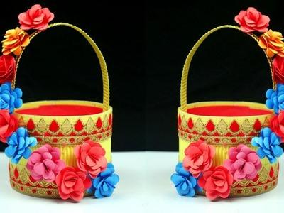 Plastic Bottle Paper Craft Flower Basket   Basket Diy Paper   How to Make Basket at Home Idea